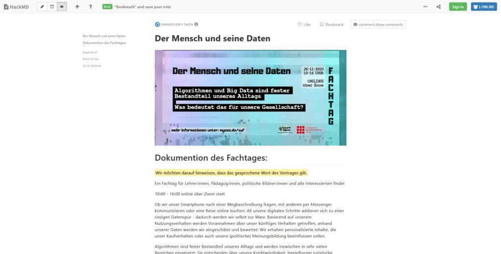 HackMD-Seite des Fachtages von #future_fabric